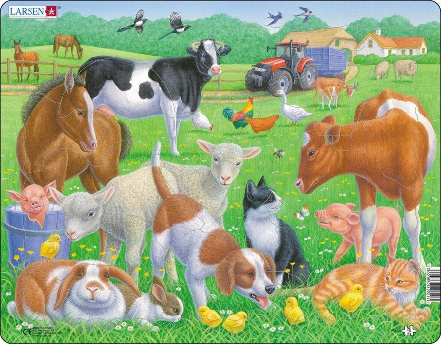 LARSEN Puzzle Domácí zvířata 15 dílků   Puzzle-puzzle.sk
